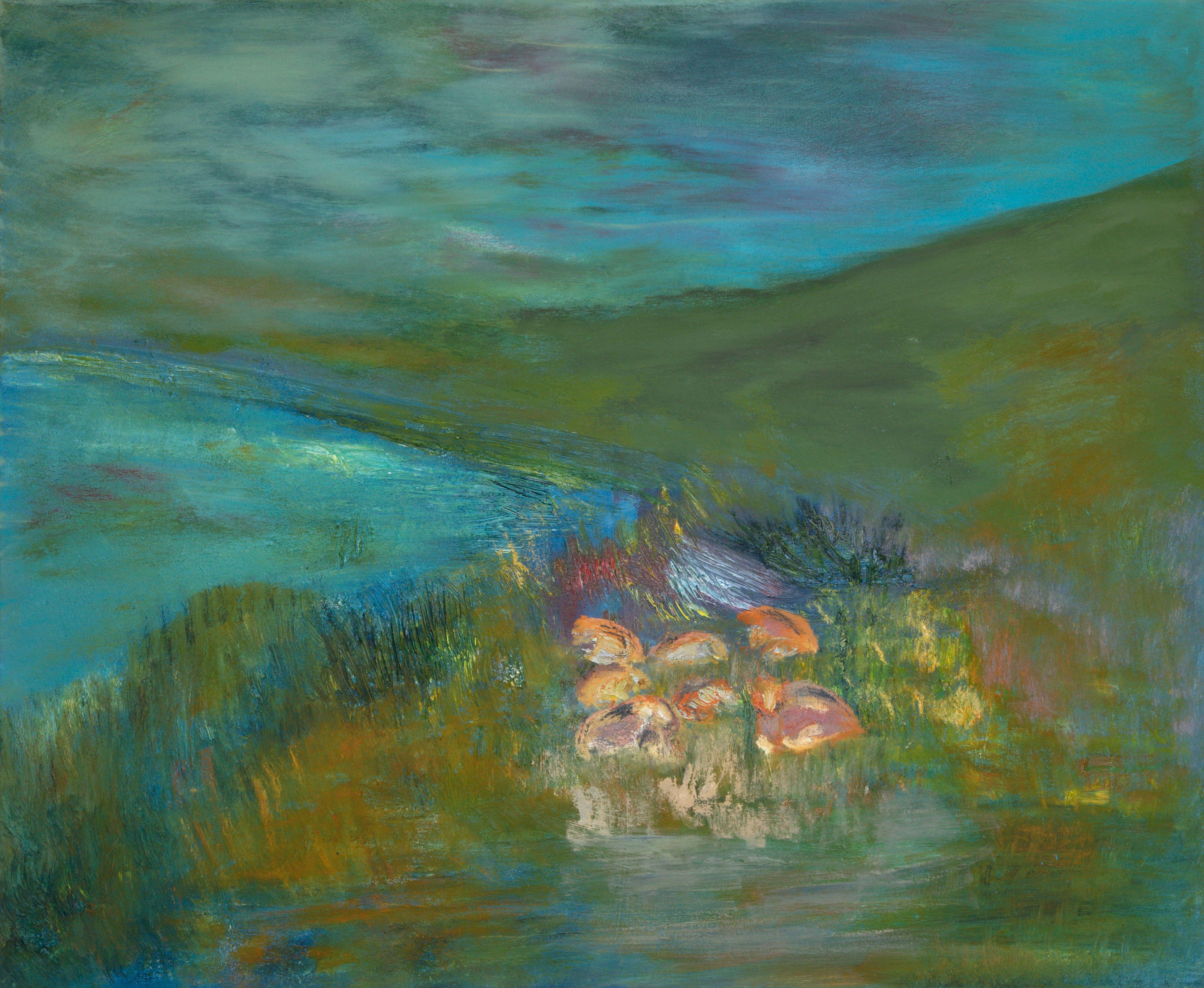 Marij Aarntzen, Koeien in ochtendnevel, olie op doek, 90 x 110 cm, 2012