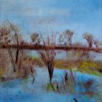Marij Aarntzen, Winters IJssellandschap, olie  op doek, 120 x 60 cm, 2010