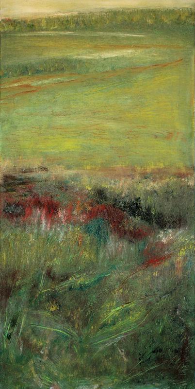 Marij Aarntzen, Uiterwaarden, olie  op doek, 120 x 60 cm, 2010