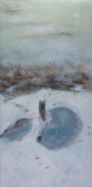 Marij Aarntzen, Winters IJssellandschap, olie op doek, 120 x 60 centimeter, 2010