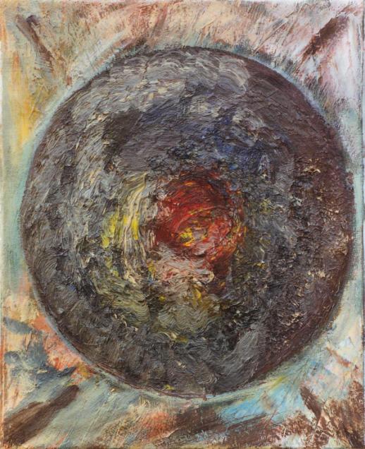 Marij Aarntzen, IJslands landschap, olie op doek, 30 x 24 centimeter, 1990