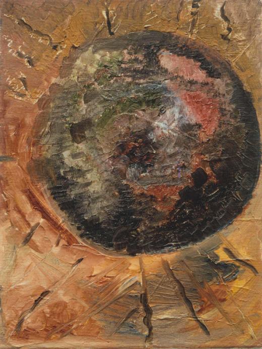 Marij Aarntzen, IJslands landschap, olie op doek, 40 x 30 centimeter, 1990